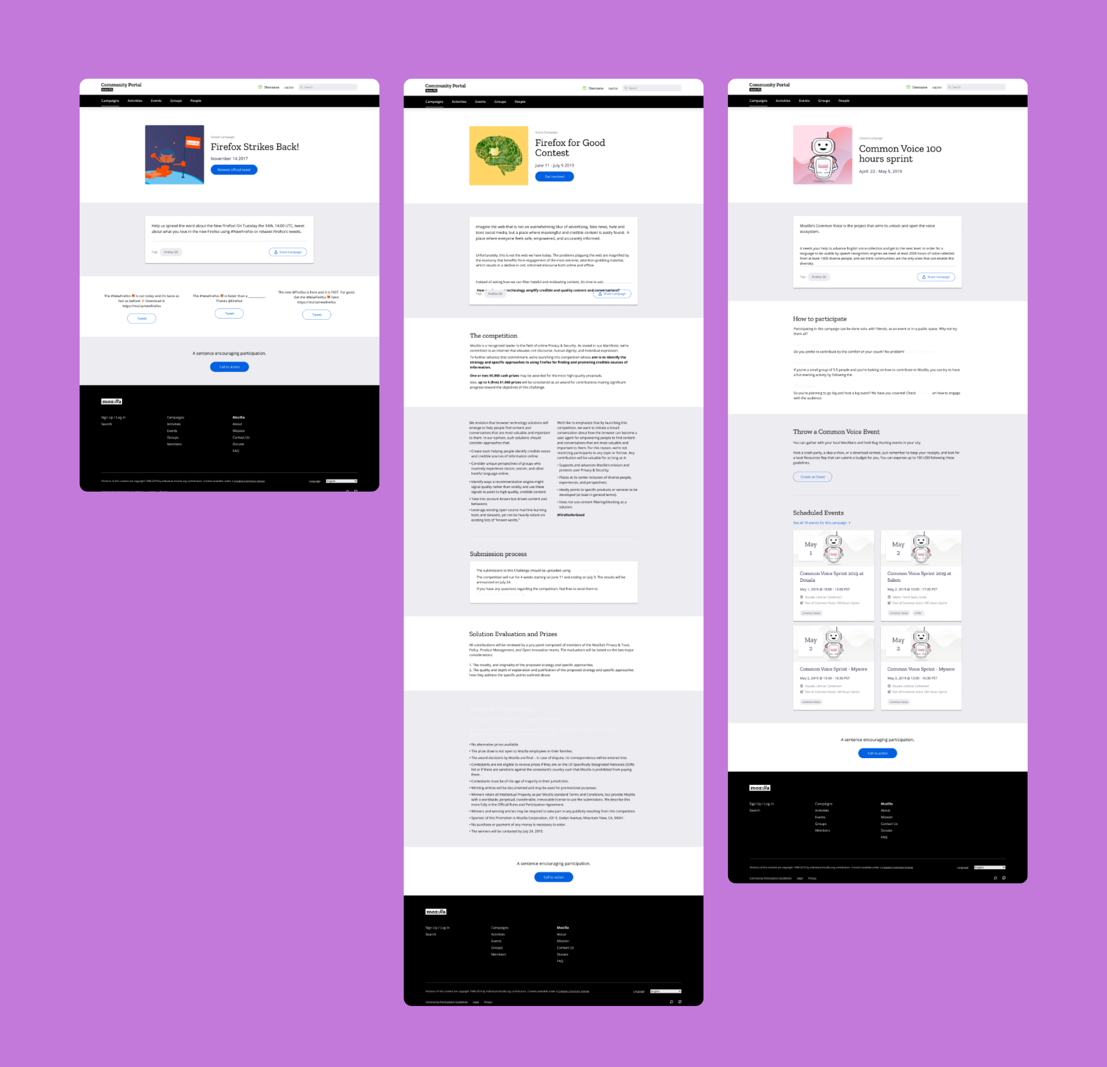 3 different campaign pages created with the page builder