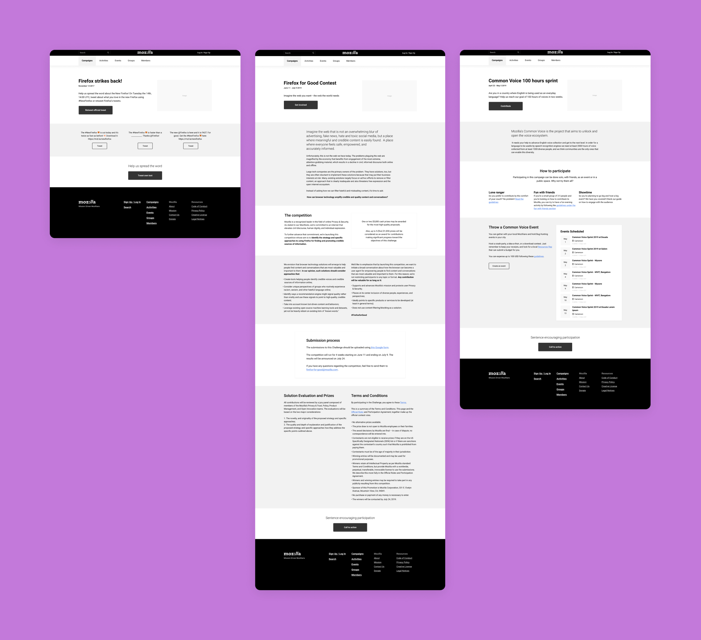 Wireframes of 3 different campaigns, all of varied page length