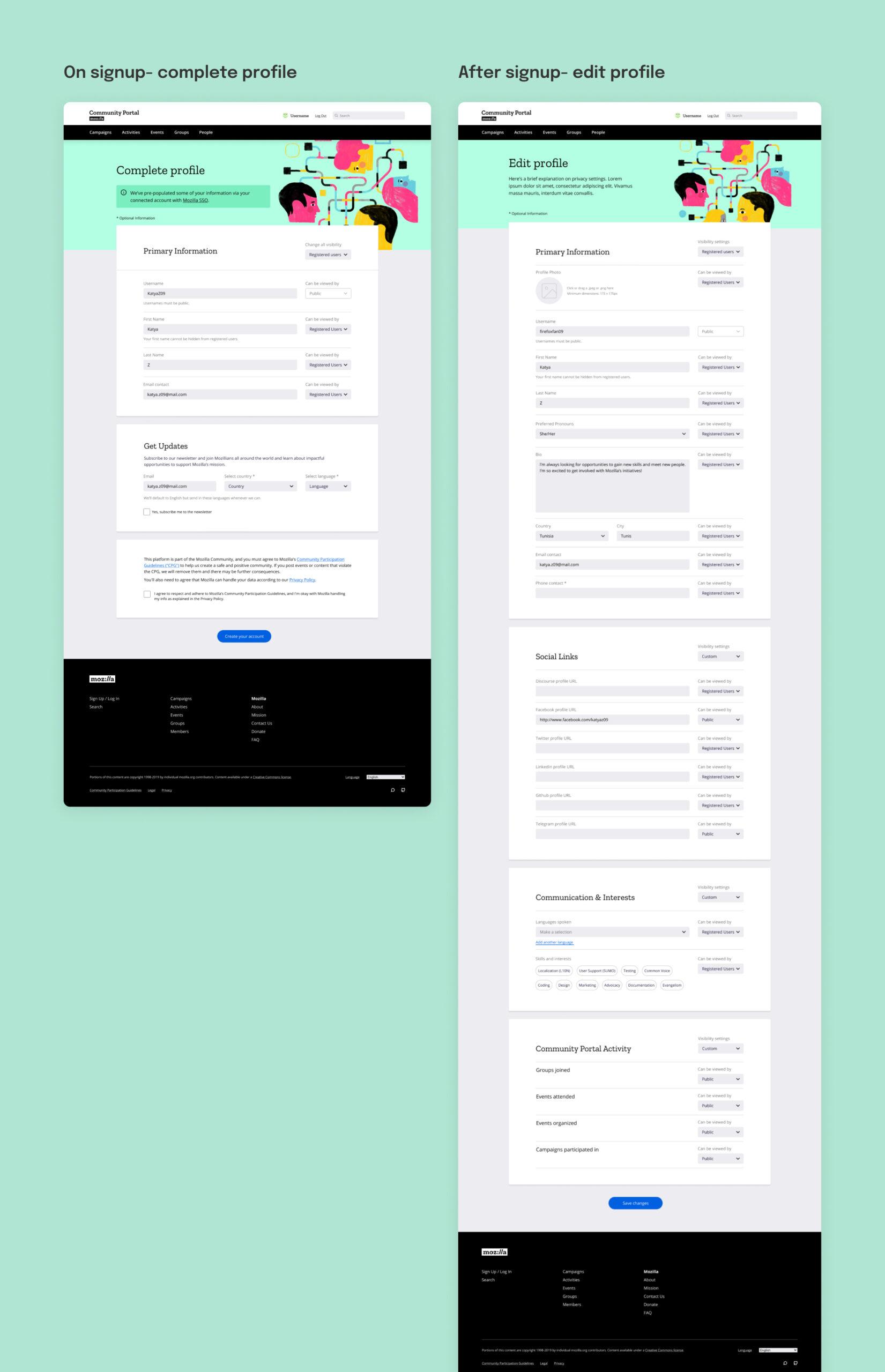 the Complete Profile screen alongside the Edit Profile screen
